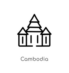 Outline cambodia icon isolated black simple line vector