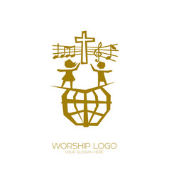 People of all nations sing a song of worship vector