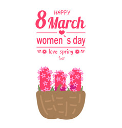 Pink lilac in basket womens day 8 march vector