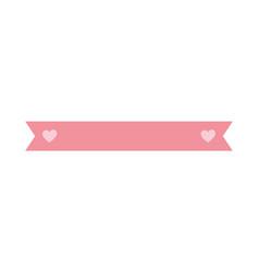 pink ribbon hearts love decoration ornament icon vector image