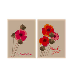 poppy flower and seed box design element vector image