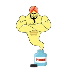 Protein strong Genie Genie departs from banks with vector image