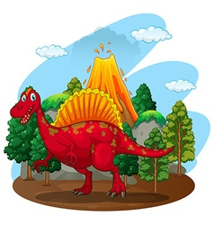 Red dinosaur with volcano behind vector image