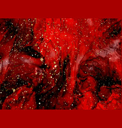 red marbling with natural luxury style lines of vector image