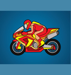 Red motorcycle racing side view graphic vector