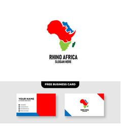 Rhino head and africa logo design free business vector