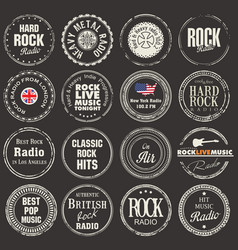 rock radio station grunge badges vector image
