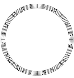 Round music border vector image