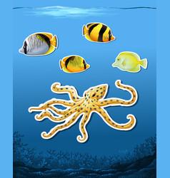 sea creature sticket underwater background vector image