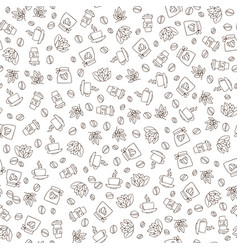 Seamless coffee pattern with coffee beans vector