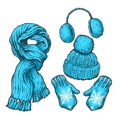 Set of blue knotted scarf hat ear muffs and vector image