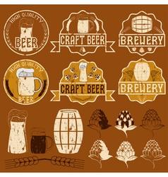 set of grunge beer emblems vector image