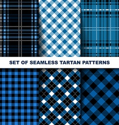 Set of seamless tartan patterns Blue version vector