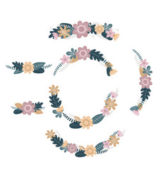 set of spring flower wreath vector image