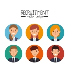 Set recruitment employee hired isolated vector