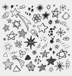 Set with hand drawn cartoon stars good vector