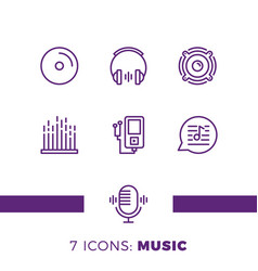 simple set of music audio related line icons vector image