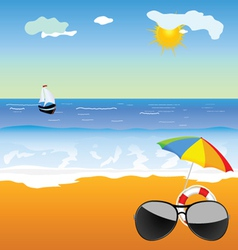 Sunglass on the beach vector