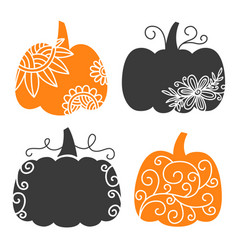swirly decorative pumpkin set thanksgiving autumn vector image
