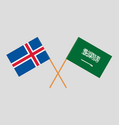 The icelandic and ksa flags vector