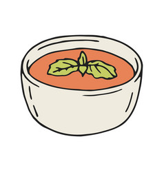 tomato soup in hand drawn vector image