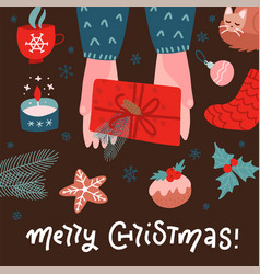 top view scene two hands holding gift box with vector image