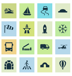 Transport icons set with river van slippery way vector
