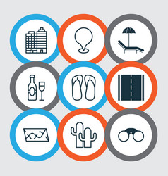 Travel icons set with thongs camera location vector