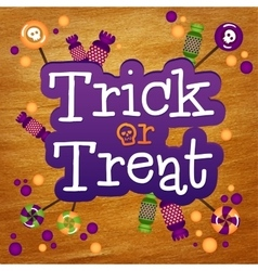 Trick or Treat Happy Halloween Greeting Card Gold vector image