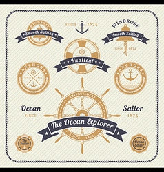 Vintage nautical labels set on light bcakground vector image