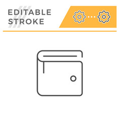 wallet editable stroke line icon vector image