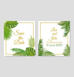 wedding invitation tropical leaves simple vector image
