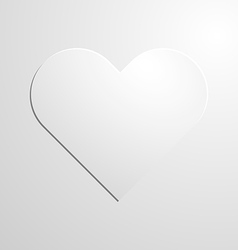 White paper heart icon on background vector image