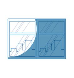 window cityscape window framed urban buildings vector image