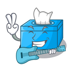 With guitar cartoon tissue box on a sideboard vector