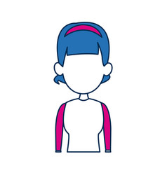 Woman avatar female blue hair fuchsia clothes in vector