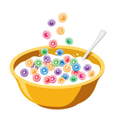Yellow bowl with cereals in milk vector