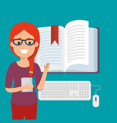Young woman with ebook education online vector