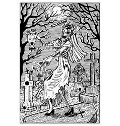 zombie bride engraved fantasy vector image