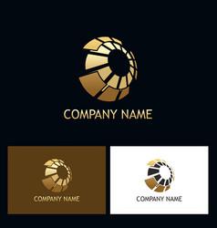 3d gold sphere digital technology logo vector image