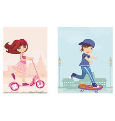 happy boy on a skateboard and girl on scooter vector image