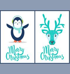 merry christmas penguin deer vector image