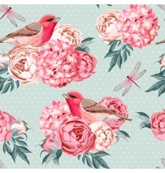 Birds and flowers seamless vector image vector image