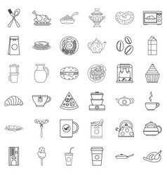 feast icons set outline style vector image