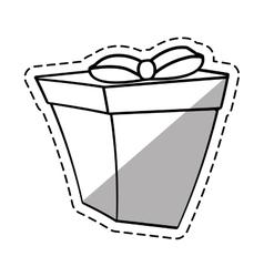 gift box ribbon decorative linea shadow vector image vector image