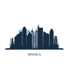 manila skyline monochrome silhouette vector image