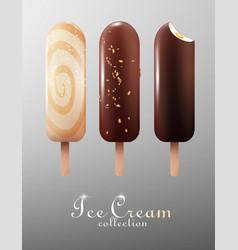 realistic classic ice cream eskimo set vector image