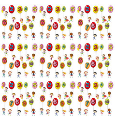 Seamless background with numbers on balloons vector