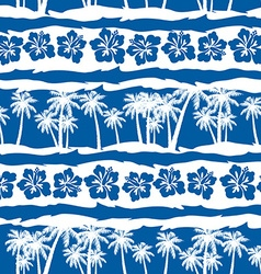 Tropical frangipani with beach palms seamless vector image