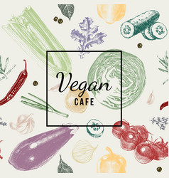 vegan cafe logo over vegetable background vector image vector image